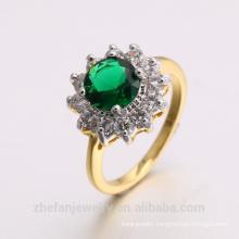 2018 new jewelry dubai 24K gold plated emerald CZ ring