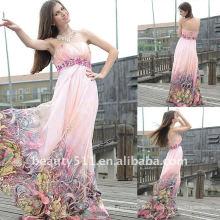 Astergarden Real Sample bretelles imprimé robe de soirée en mousseline de soie AS139
