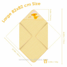 100% organic cotton wrap in yellow cute duck extra soft Large size 82*82 cm Size baby towel