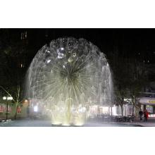 Aço inoxidável dandlion esfera escultura fonte com luz LED
