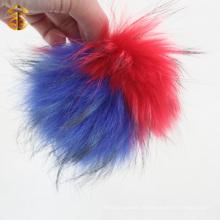 Top-Qualität Luxus flauschige Waschbär Pelz Ball echten Pelz Pompom Schlüsselbund