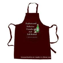 OEM Produce Custom Made Promocionais Cotton Brown Customized Logo impresso Cozinhar Bib Avental