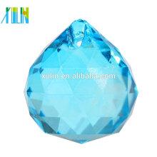 Bola de suspensão de cristal facetada azul barata por atacado para a decoração da árvore de Natal