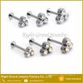 La mode Triple Crystal intérieurement Rod Rod Labret Helix piercing personnalisé anneaux à lèvres