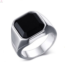 Fashion Stainless Steel Finger Big Stone Silver Plain Rings