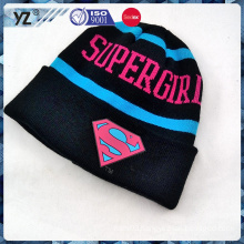 embossed rubber badge and embroidery knitted hat