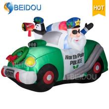 Decoración de Navidad trineo inflables dibujos animados iluminación tren de Navidad