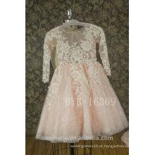 2017 New Lace Appliqued Flower Girls Dress Vestido de casamento Tulle Kid com melhor preço