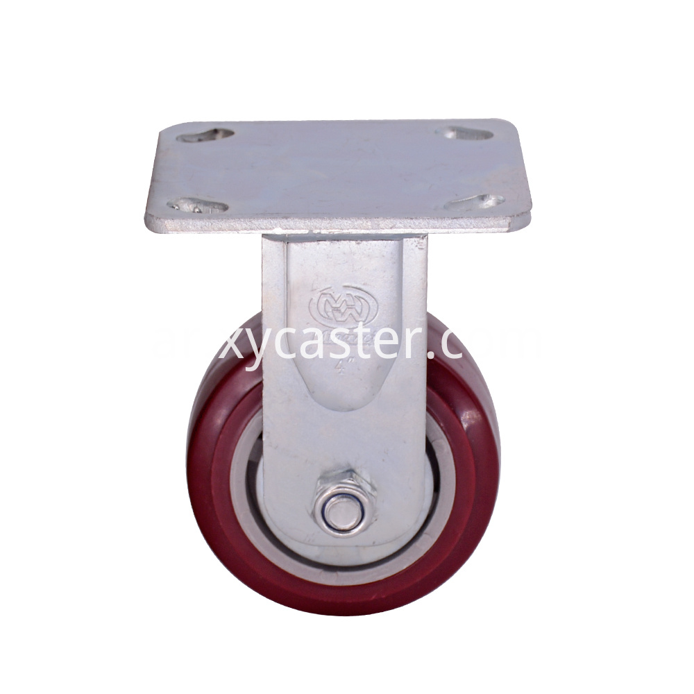 4 inch fixed red pvc caster