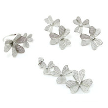 Flower Collections Wholesale Jewelry Woman′s Fashion AAA CZ 925 Silver Set (S3304)