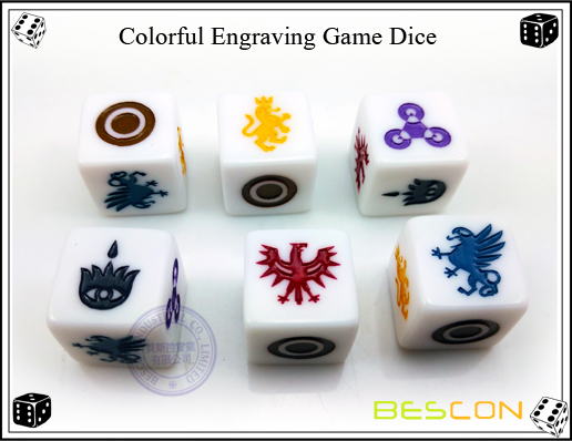 Colorful Engraving Game Dice