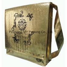 Sac à provisions non tissé stratifié d'or de fabricant approuvé par pp