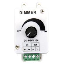 Vente chaude DC9-24V 16A PWM bouton rotatif contrôleur de gradateur pour une seule bande de couleur LED, lumières LED