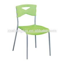 Green Stackable Metal Tube Plastic Chairs