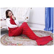 Knitted Mermaid Tail Blanket Adult Knitted Sofa Bed Throw Blankets Mermaid Sleeping Bag