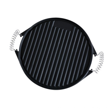 Cast Iron Round Grill Pan with Stainless Steel Handle, 42cm