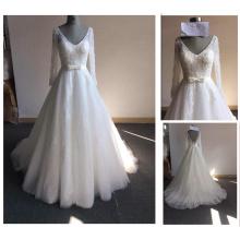 Bridal Lace Bodice Deep V-Neck Open Back Beadings Lange Ärmel A-Line Bogen Taille Illusion Günstige Hochzeitskleid Made in China Y13-2
