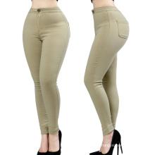 Pantalones al por mayor de las señoras Pantalones flacos del algodón del algodón de la manera