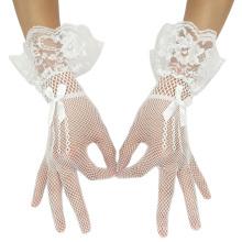 Грейс Карин сексуальный бант украшенный сетки платье Белый Свадебные кружева перчатки CL010606-2