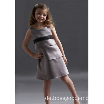 A-Linie Rundhals Knielanges Satin Layers Flower Girl Dress