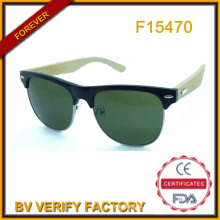 2015 Hotsale Metal&PC Sunglass with Bamboo Temples (F15470)