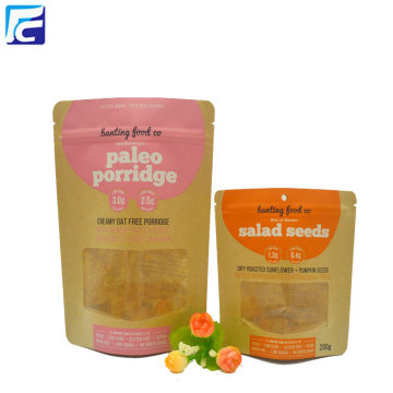 Resealable Zipper Kraft Paper Food Packaging Bags