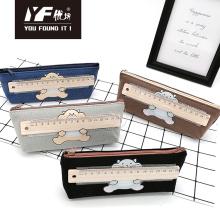 Custom bear pattern ruler cute canvas pencil case