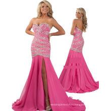 Розовый милая тяжелых бисером платье pageant платье со стразами RO11-22