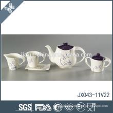 Heat resistant wholesale good quality flower decal ceramic purple tea set