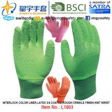 Interlock Color Liner, guantes de látex recubiertos 3/4 (L1803), acabado arrugado áspero, muñeca de punto con CE, En388, En420, guantes de trabajo