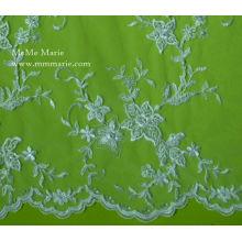 Tissu à la broderie à la dentelle indienne à fleurs Design Robe de mariée Robe en dentelle noire no CA132B