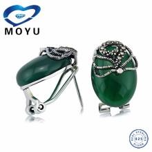 2015 Fashion jewelry agate earring 925 sterling Thai silver earring green agate earring wholesale