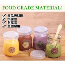 Food Grade 40ml 100ml Pudim Garrafa de vidro Mini garrafa de leite com cortiça ou Cap