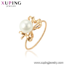 15460 xuping fashion glow 18k gold plated imitation pearl ring designs for lady