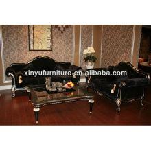 Antique black velvet sofa set A10160