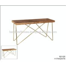 Top en bois industriel en mangue avec table en console en laiton et en métal