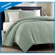 Green Solid Polyester Ultrasonic Bedspread Set