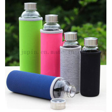 OEM Logo Glass Thermos Vacuum Flask Bottle with Sleeve