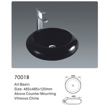 7001b Bathroom Ceramic Round Black Art Basin