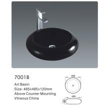 7001b Casa de banho cerâmica rodada Black Art Bacia