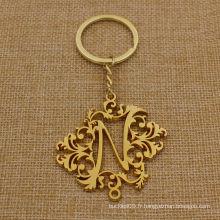 Chaîne porte-clés en or métallique personnalisée avec bonne forme