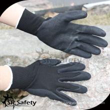 SRSAFTY 13 gauge seamless knitted liner nitrile gloves on palm, sandy finish