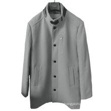 Men′s Reguar Fit Light Grey Funnel Neck Coat with Removable Gilet