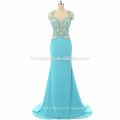 2017 элегантных женщин роскошный синий пром платье сексуальный длинная дизайн спинки кружевной русалка платье выпускного