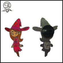 Halloween girl metal emblem pin