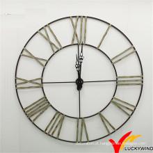 Novo Design Anatique Decorar Roman Numeral grande rodada Metal Wall Clock
