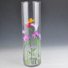 Handgemalte runde geformte hohe Glasvase mit Kapazität 1L