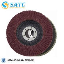 Disco de aleta flexible de disco abrasivo T27 / T29 Tipo disco de amolado de óxido de aluminio de fibra