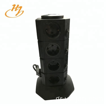 Μαύρη 2-USB 4-Layers Vertical Tower Socket
