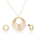 Gold Plated Multilayer Circle Necklace Earring Set For Women
